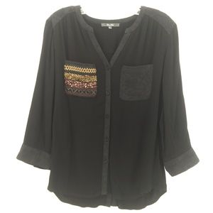 Miss Me black embroidered blouse